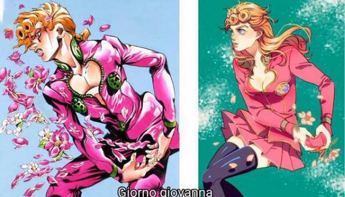 将JOJO中的角色性转,迪奥的身材有点劲爆,乔鲁诺变成美少女